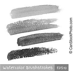 Set of Gray Watercolor Brush Strokes