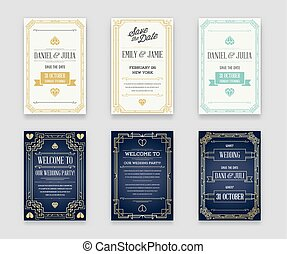 Set of Great Quality Style Invitation in Art Deco or Nouveau...