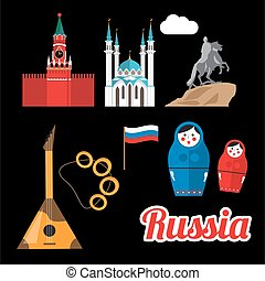 Set of Greatest Russian symbols.