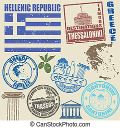Set of Greece stamps - Set of grunge stamps with Greece on...