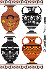 Set of Greek vases, colored image and cliche