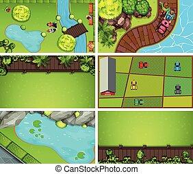 Set of green aerial landscape