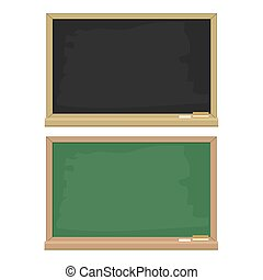 set of green and black blackboard with wooden frame, flat design for education concept, stock vector illustration