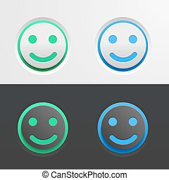 Set of green and blue buttons in the form of a smiling Emoji on light and dark background. Vector illustration for interface design.