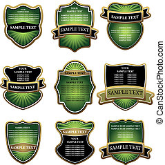 Set of green and gold labels