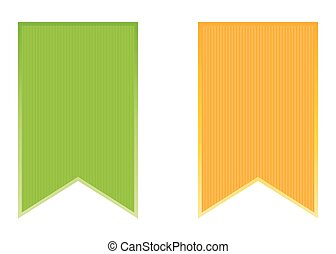Set of green and orange stickers