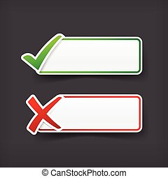 Set of green and red check mark symbol and blank banner with copy space vector illustration eps 10
