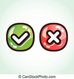 Set of green and red check marks glossy buttons. Creative...