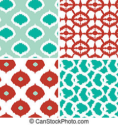 Set of green and red ikat geometric seamless patterns...