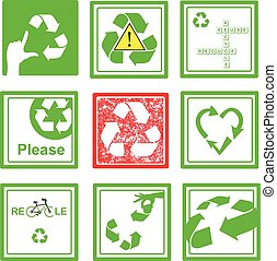 Set of green and red recycle sign symbol on green square