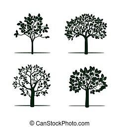 Set of Green Apple Trees. Vector Illustration.