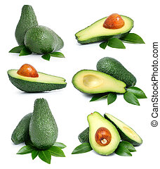 set of green avocado fruits with leaf isolated on white