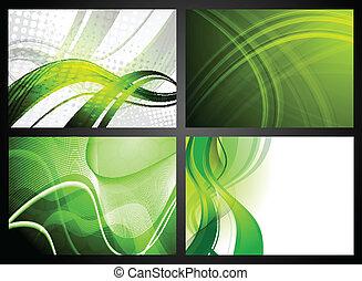 Set of green backdrops