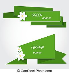 Set of green banners with flowers. Vector illustration