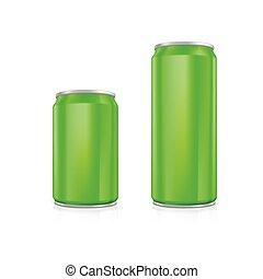 Set of green blank aluminium cans.