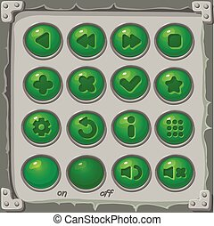 Set of green buttons, vector game icons