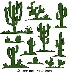 Set of green cacti - Set of different types of green cacti...