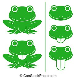 Set of green cartoon frogs with head variations