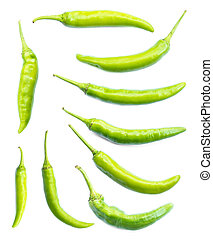 Set of green chilli pepper on white background