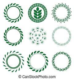 Set of Green Circle Floral Frames