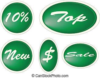 Set of green circle labels