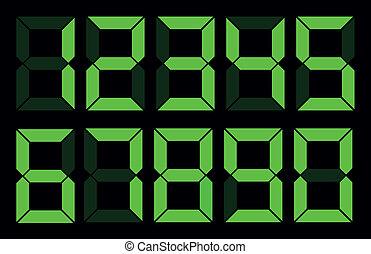 Set of green digital number