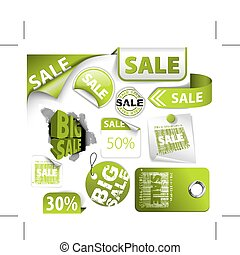 Set of green discount elements - Set of green discount ...