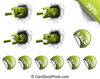 Set of green discount stickers