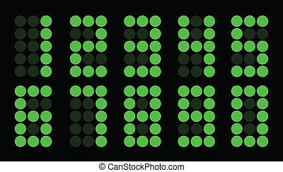 Set of green dot digital number