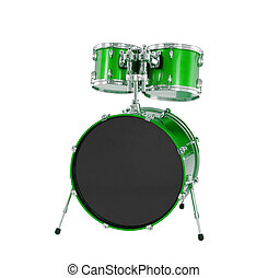 Set of Green drums isolated