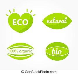 Set of green eco symbols