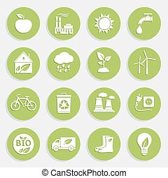 Set of Green Ecology Flat Icons