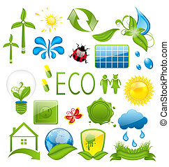 Set of green ecology icons (3)