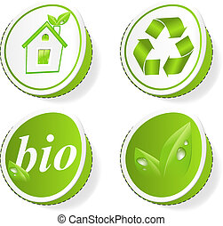 Set of green ecology tags