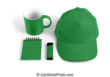 Set of green elements for corporate identity design on white background.