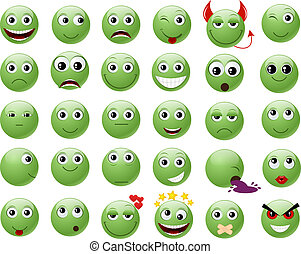 Set of green emoticons.