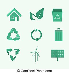 set of green environmental icons