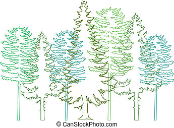 set of green fir trees, vector background