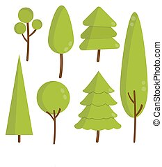 set of green flat trees and pine with shadow , sprites for the game , vector forest illustration