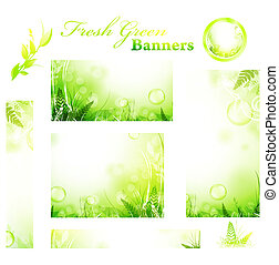 green fresh sunny banners - Set of green fresh sunny banners...