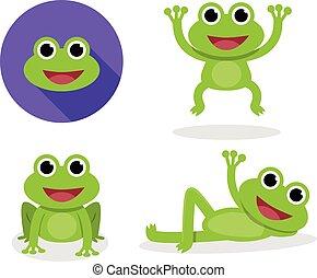 Set of green frog in cartoon style, vector