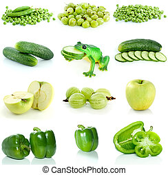 Set of green fruit, berries and  vegetables