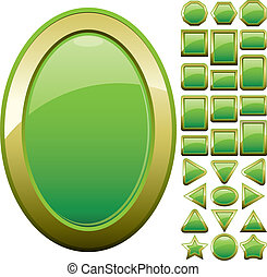 Set of green glass buttons, glossy icons, web spheres, vector illustration