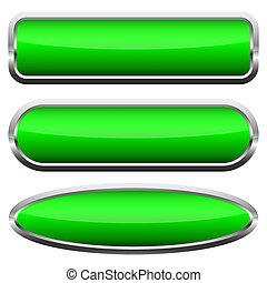 Set of green glossy buttons. Vector illustration.