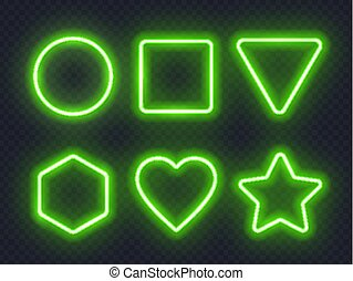 Set of green glowing neon frames on dark background.