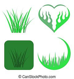 Set of Green Grass Icons