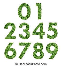 Set of Green Grass Numbers 0-9
