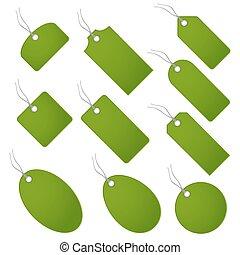 Set of green hangtags