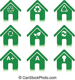 set of green houses icons