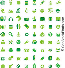Set of green icons